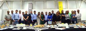 Asistentes al desayuno TID: UDD (Alejandra Amenábar, Paulina Contreras, Francisco del Despósito y Hernán Díaz), Prochile y empresas.