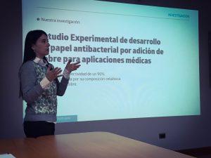 Presentación de Alejandra Amenábar sobre el desarrollo del papel antibacterial